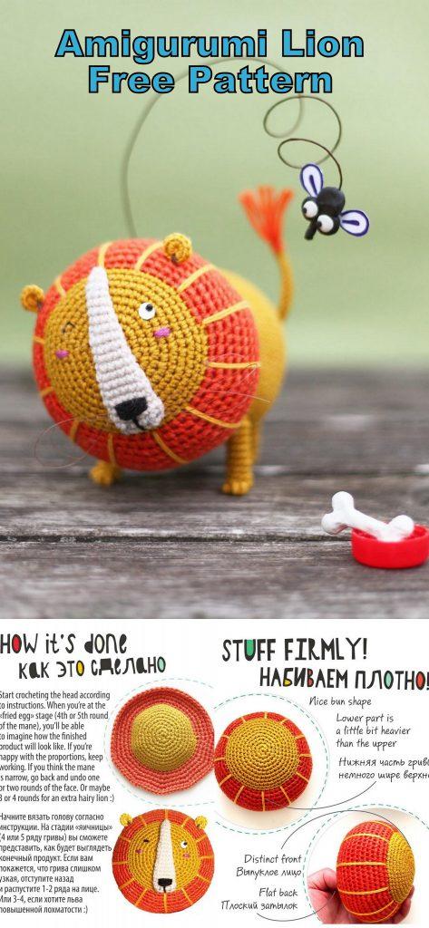 Original Little Bigfoot Lion Free Crochet Pattern | Crochet lion ... | 1024x473