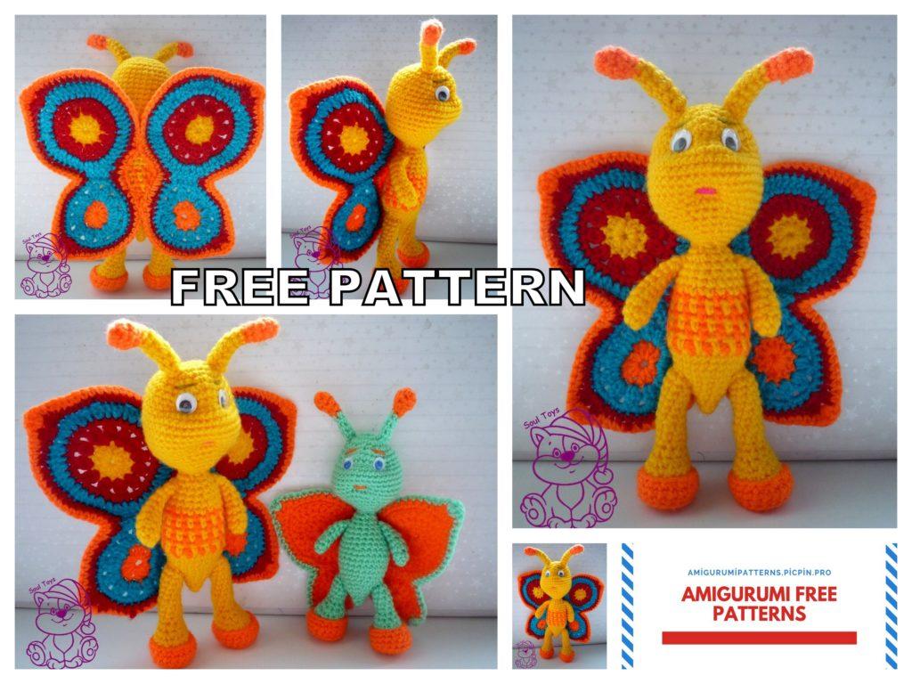 Amigurumi Rainbow Butterfly Free Crochet Pattern