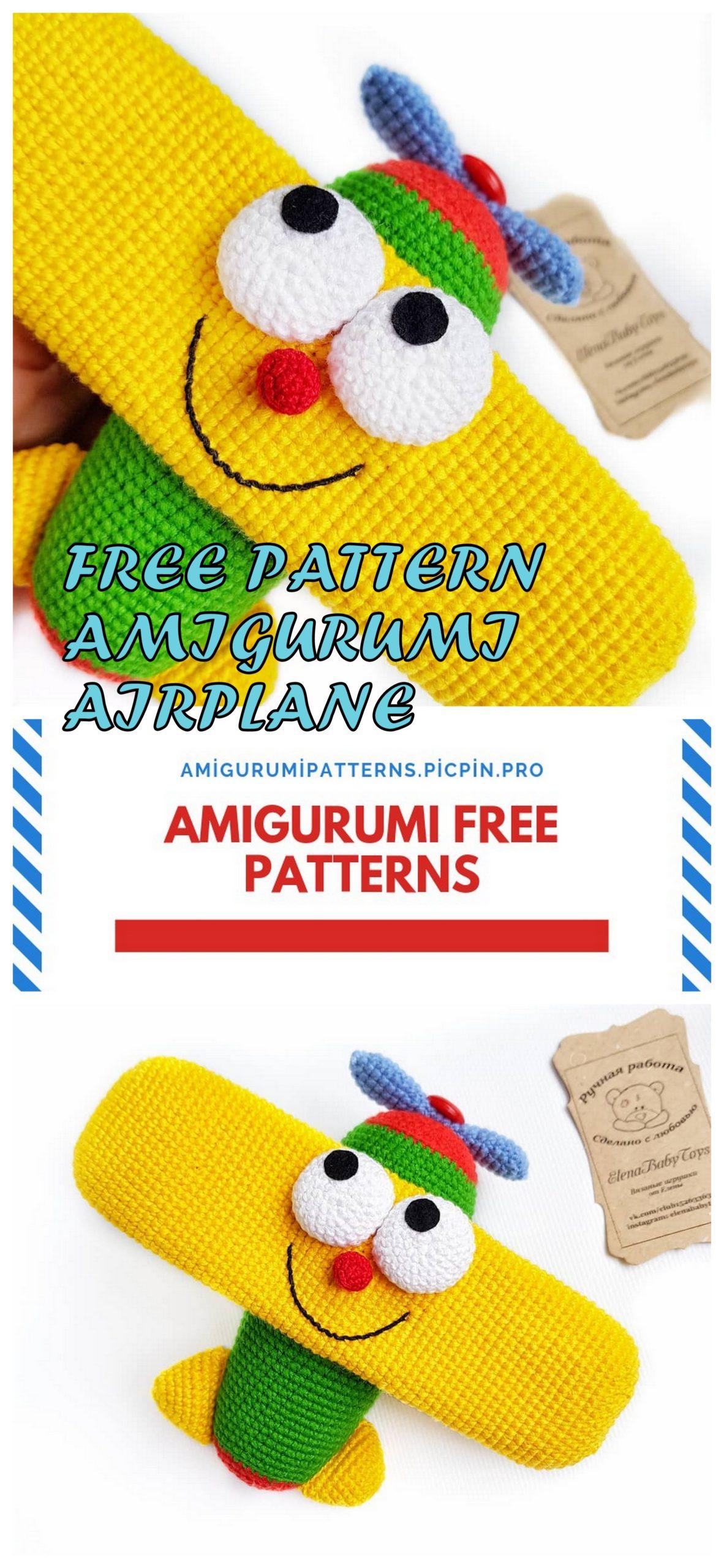 Cartoon airplane crochet pattern - Amigurumi Today | 2560x1182