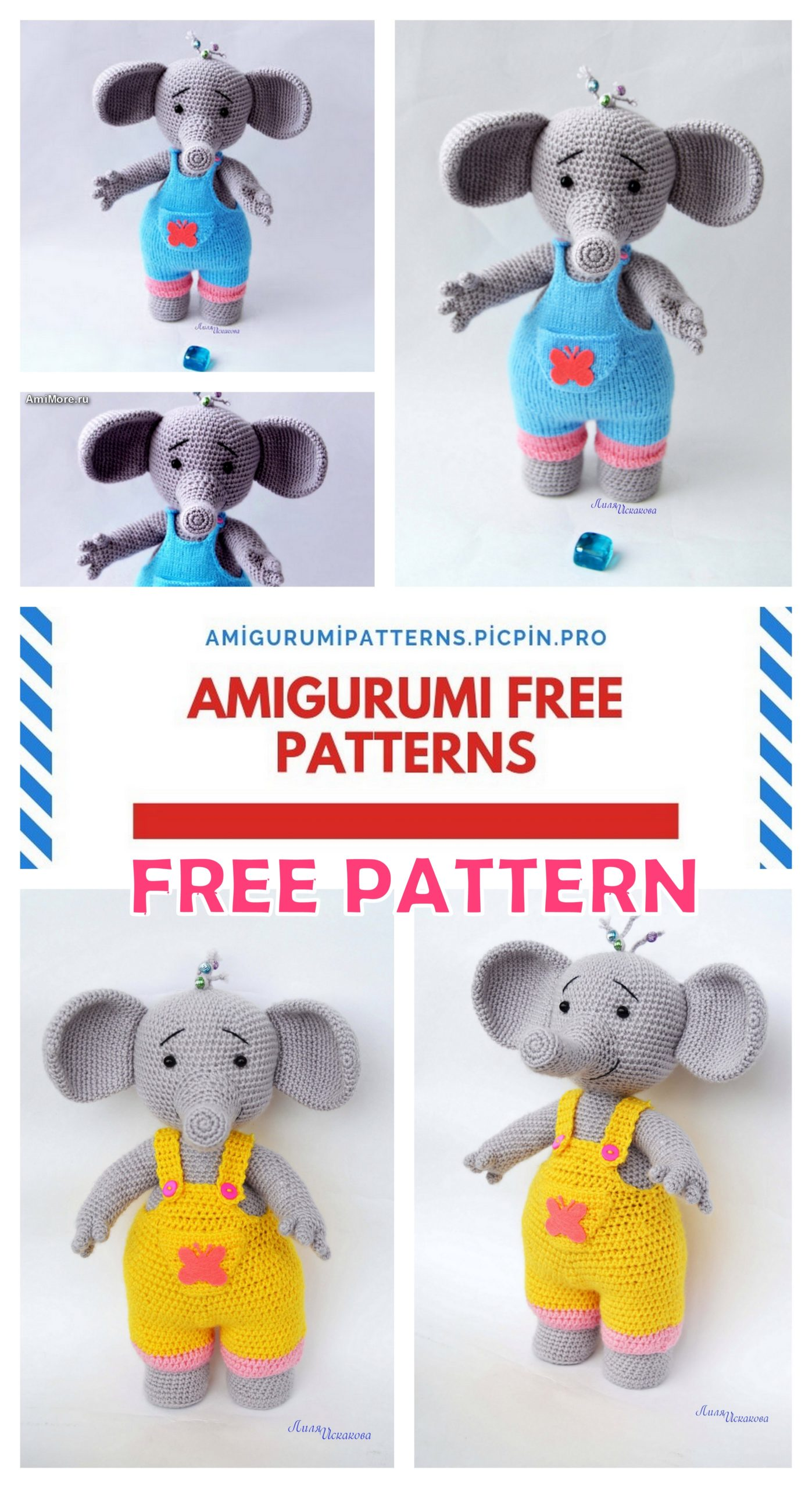 Easy Crochet Amigurumi Elephant Free Pattern – Crochetfuldiy.com | 2560x1397
