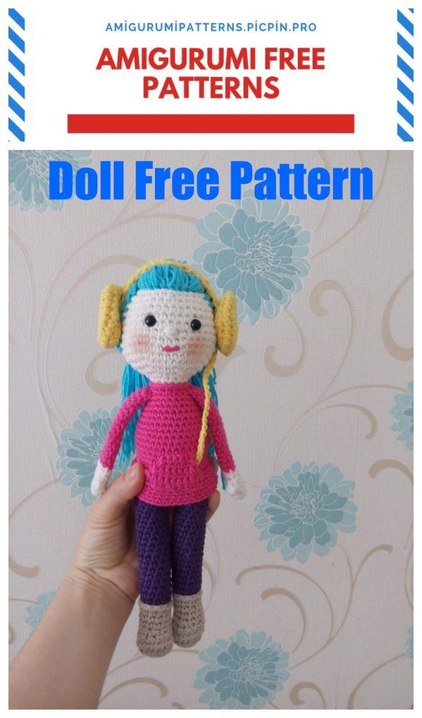 Amigurumi Blue Haired Girl Free Crochet Pattern