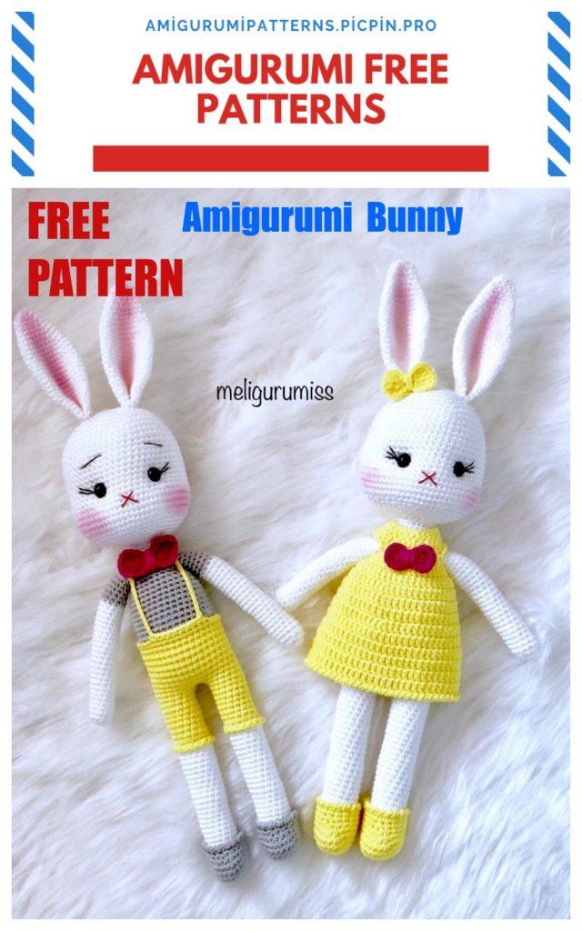 Amigurumi Cute Bow Tie Bunny Free Crochet Pattern